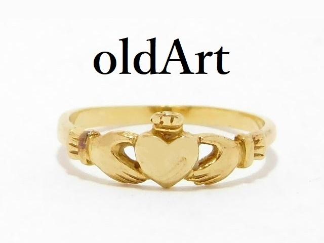 アイルランド 伝統的 指輪 Claddagh Ring クラダリング ダイヤモンド 10金無垢 10K ゴールド 7号【M-13065】【中古】【送料無料】