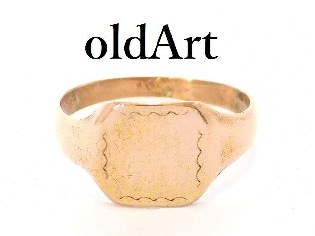 英国 イギリス製 ヴィンテージ シグネット 彫刻 リング 9金無垢 ホールマーク 刻印 指輪 6号 9CT ゴールド ピンキー【M-13654】【中古】【送料無料】