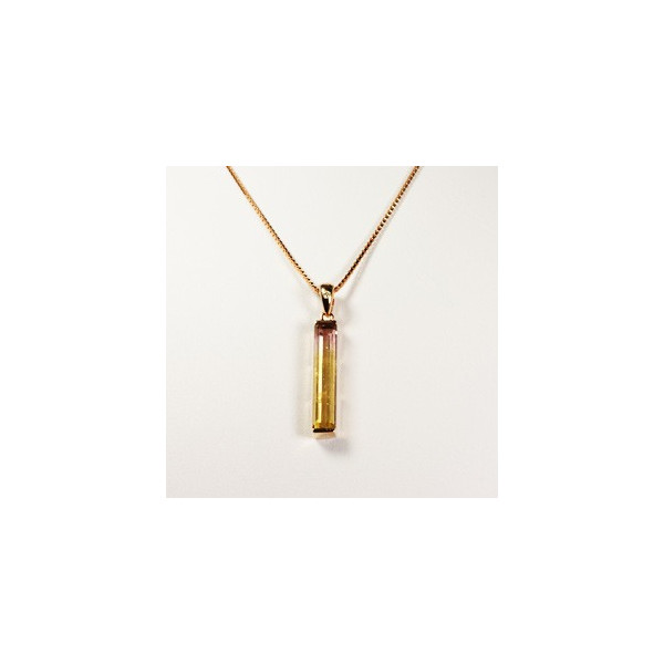ネックレス トルマリン バイカラー4.03ct 18Kローズゴールド ダイヤ0.46x2.24mm