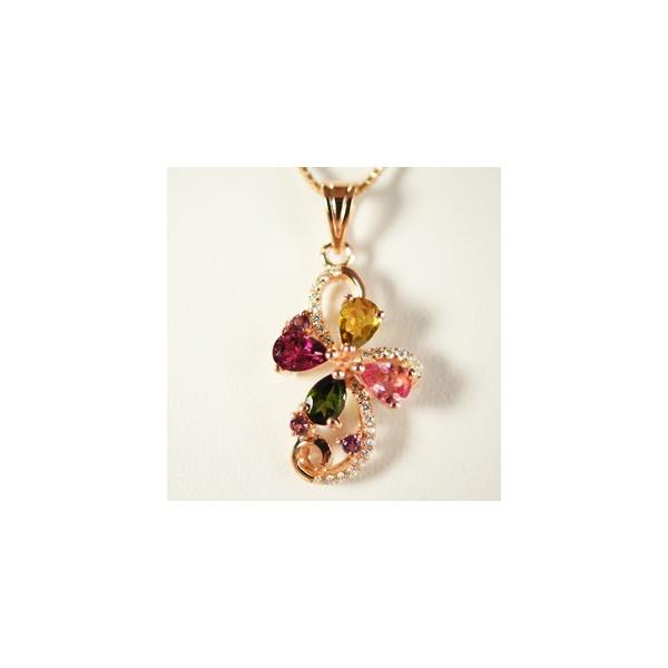 トルマリン ネックレス 多彩な色合 花音15x30mm
