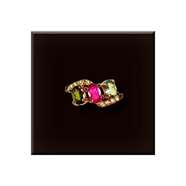 トルマリン リング 925シルバー 色石3個4x6mmオーバル