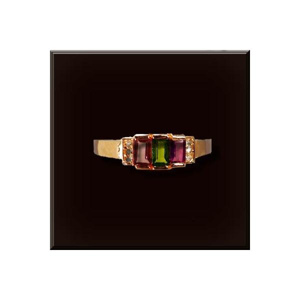 トルマリン リング 925シルバー 色石スクエア3個3x5mm
