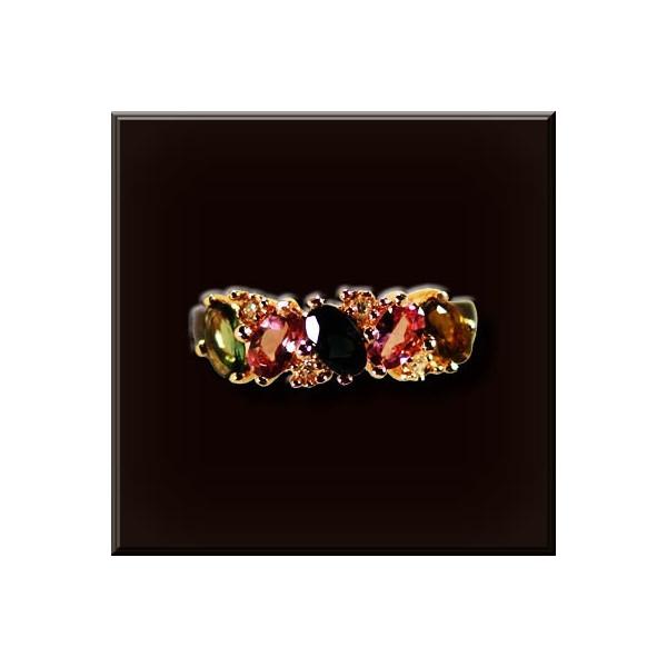 トルマリンリング 925シルバー 色石5個3x5mmナイス