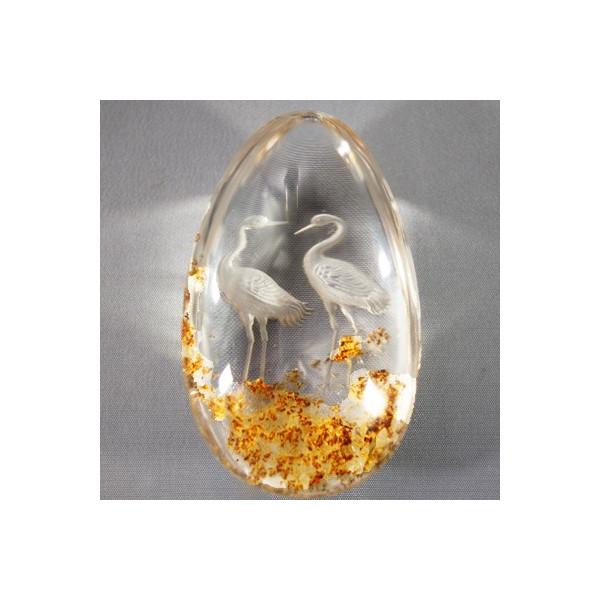 原石 ゴールドガーデン水晶彫刻置物 鶴 台付き高さ110mm