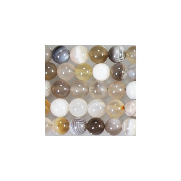訳あり 人気商品 1本約40cmにおよそ48個 穴:1-1.5mm 天然石 丸 8mm グレー縞メノウ