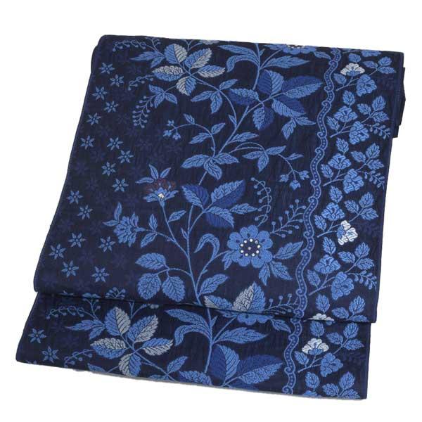 西陣織 新作 弥栄織物 未仕立て 京都 名古屋帯 九寸 最大3000円OFFクーポン 濃藍色 正絹