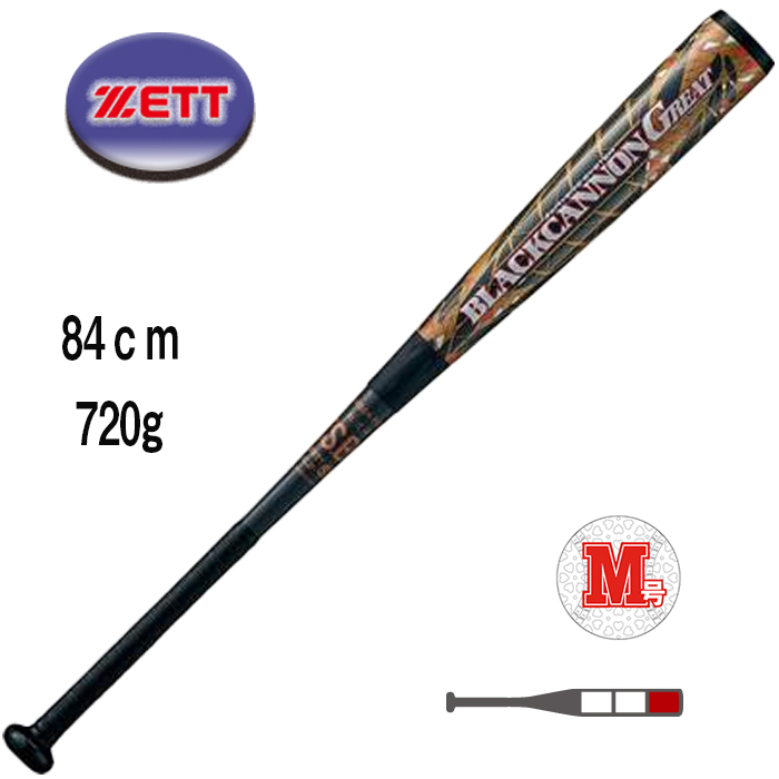 ゼット ZETT 野球 軟式FRP製バット ブラックキャノンGREAT 84cm BCT35084-1982
