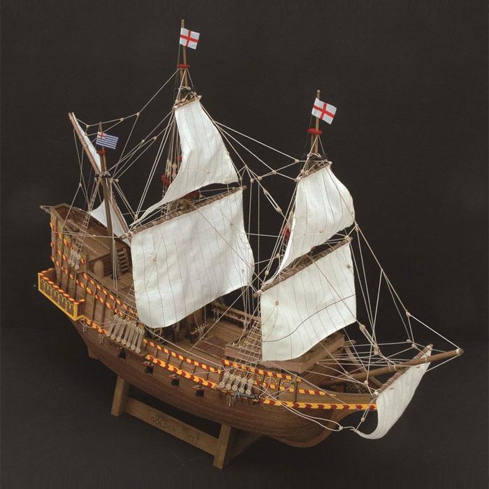【送料無料!!】 木製帆船模型 1/50 ゴールデンハインド リニューアル版 ウッディジョー