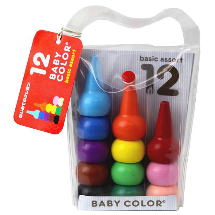 はじめてのお絵描きクレヨン ベビーコロール Baby Color ブンチョウ ベーシックアソート 12色セット 日本製 【送料無料】 はじめてのお絵描きクレヨン ベビーコロール Baby Color ブンチョウ ベーシックアソート 12色セット 日本製