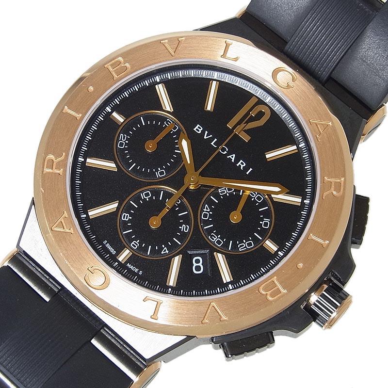 ブルガリ BVLGARI ディアゴノ ウルトラネロ クロノグラフ DG42SCCH 自動巻き メンズ 腕時計【中古】