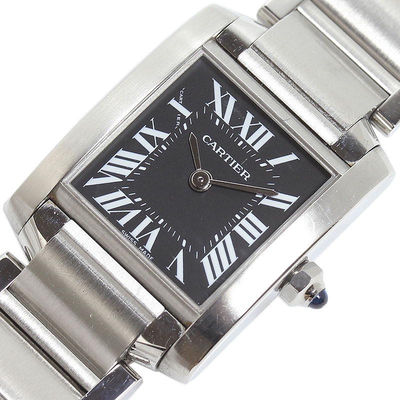 カルティエ 腕時計 レディース メイルオーダー 送料無料 Cartier タンクフランセーズSM アジア限定 ブラック W51026Q3 いよいよ人気ブランド クオーツ 中古
