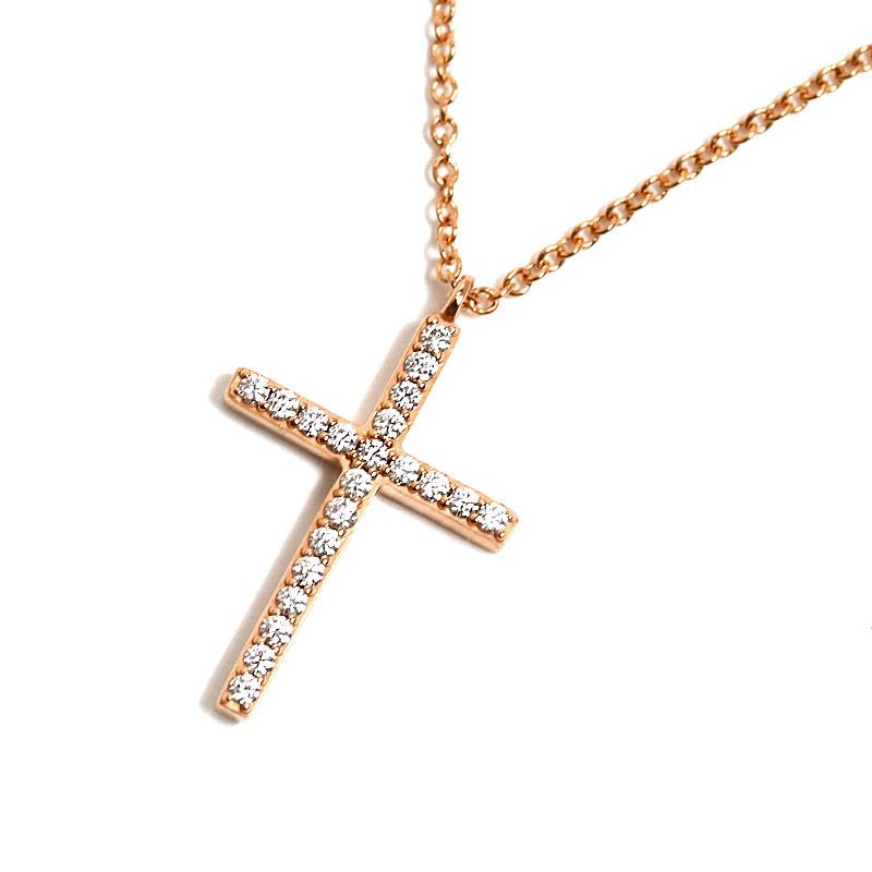 ティファニー TIFFANY&CO メトロクロス ペンダント K18RG ダイヤモンド ネックレス ジュエリー アクセサリー【中古】