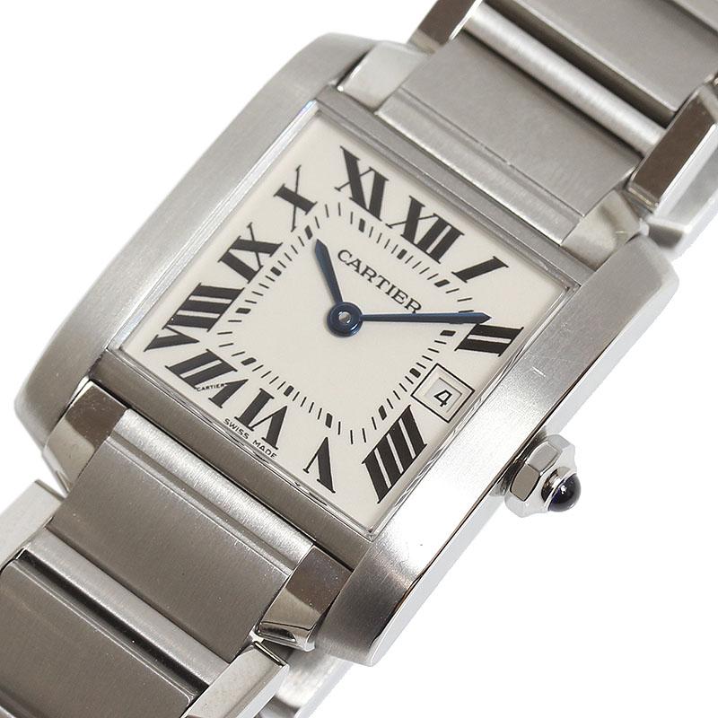 カルティエ Cartier タンクフランセーズMM W51011Q3 クオーツ メンズ 腕時計【中古】
