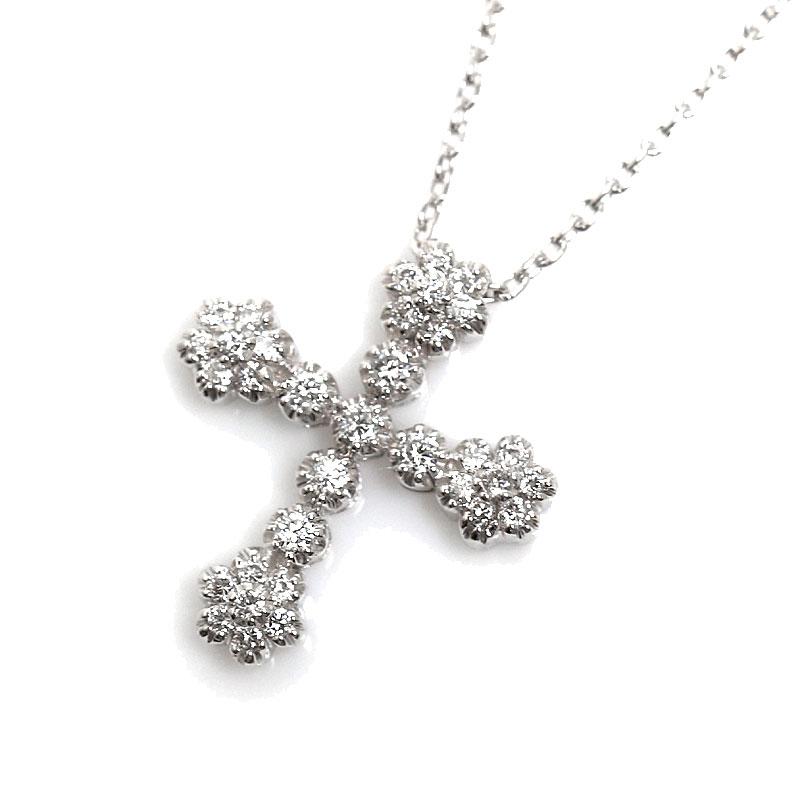 スタージュエリー STAR JEWELRY クロスネックレス K18WG ダイヤモンド 十字架 ペンダント レディース アクセサリー【中古】
