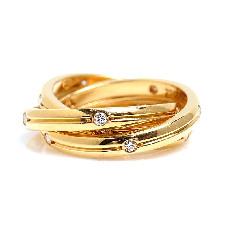 カルティエ Cartier コンステレーション リング 3連 K18YG 15Pダイヤモンド 指輪 レディース ジュエリー アクセサリー【中古】