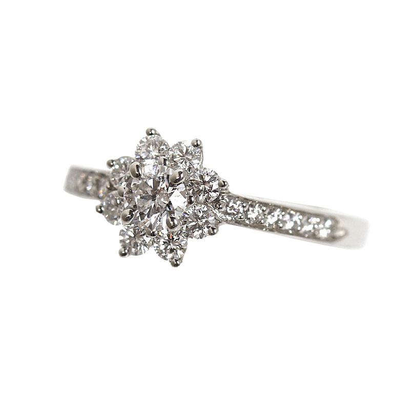 ティファニー TIFFANY&CO フローラリング プラチナ ダイヤモンド 指輪 レディース 約10号 ジュエリー アクセサリー【中古】