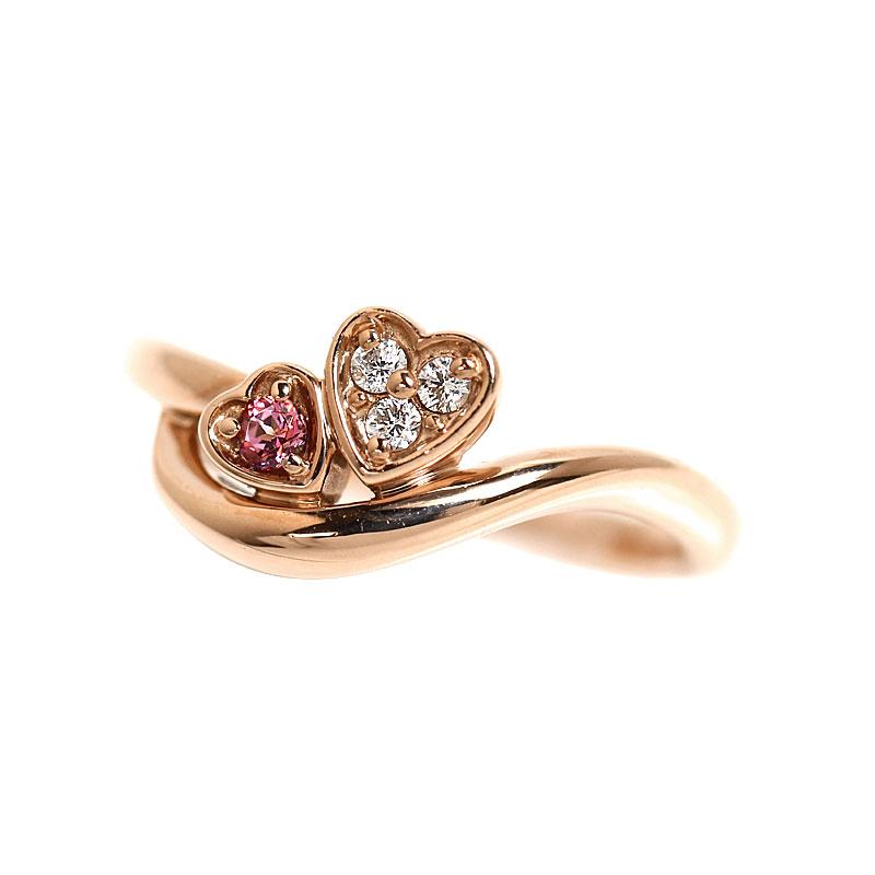 4℃ ダブルハート リング K18PG ダイヤモンド 指輪 レディース 約7号 ジュエリー アクセサリー【中古】