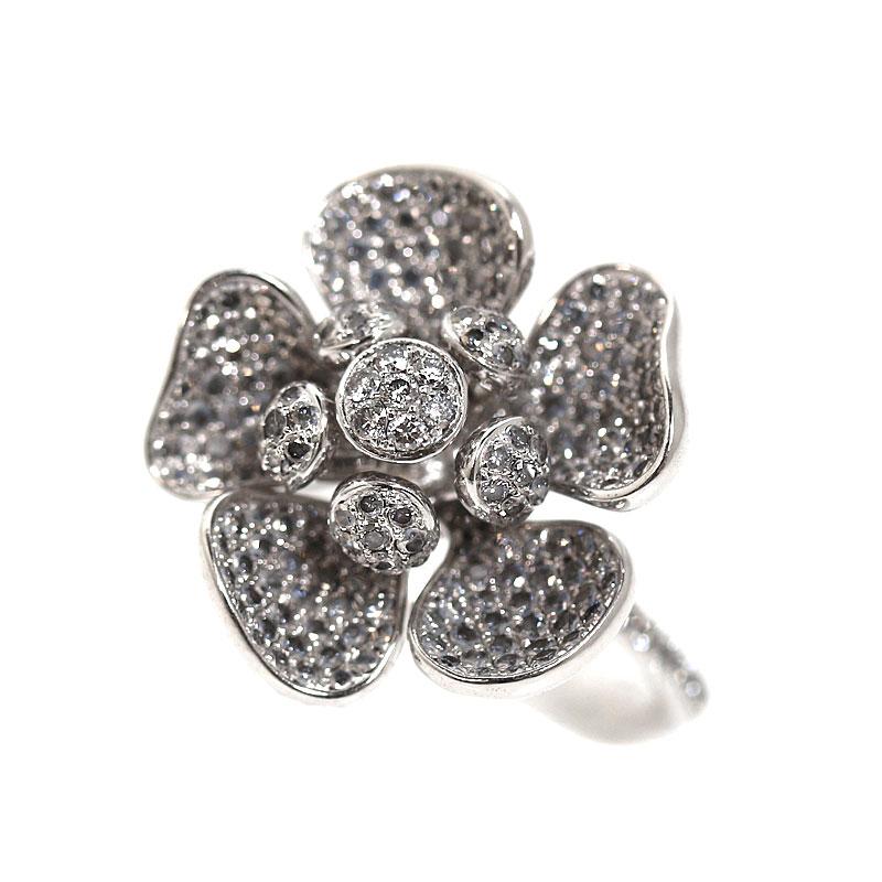 フラワーリング K18WG ダイヤモンド D1.40 指輪 レディース 約12号 ジュエリー アクセサリー【中古】