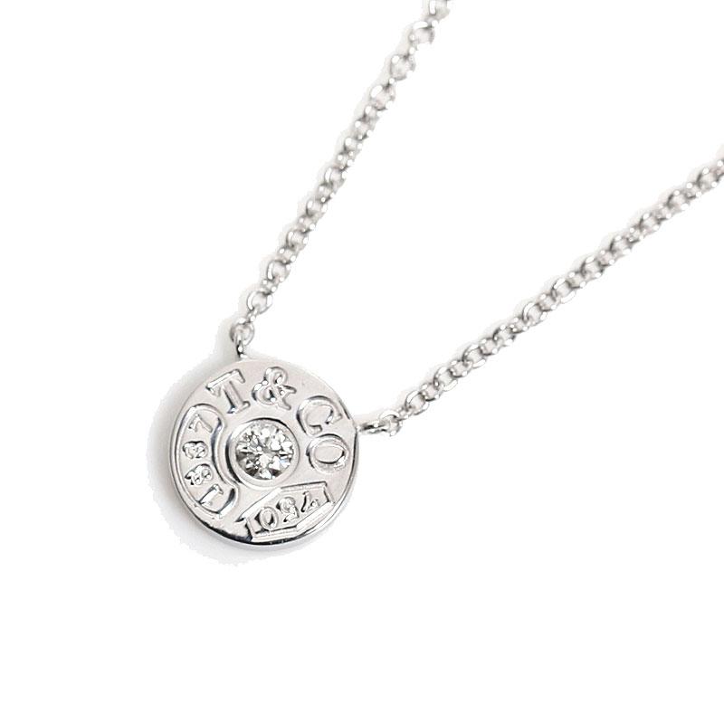 ティファニー TIFFANY&CO 1837 サークル ペンダント K18WG ダイヤモンド ネックレス レディース ジュエリー アクセサリー【中古】