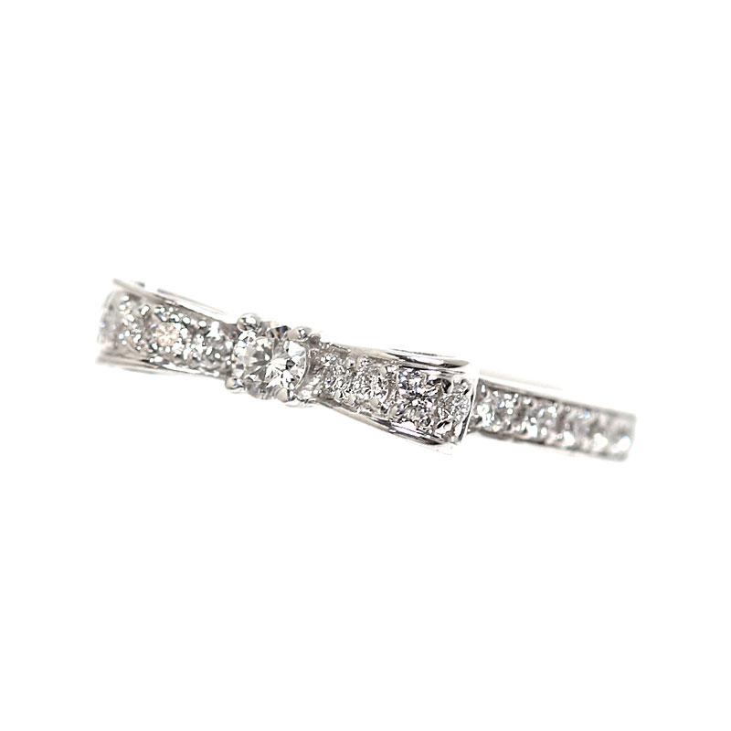 アヴァロン Avaron リボンリング K18WG ダイヤモンド 指輪 レディース ジュエリー アクセサリー【中古】