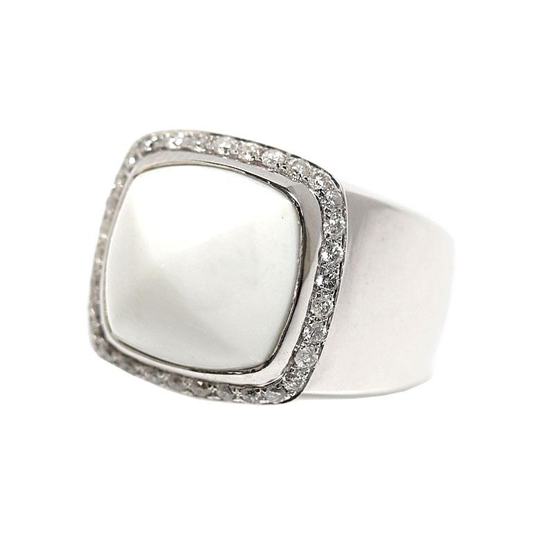 フレッド FRED パン ドゥ スークル リング K18WG ホワイトカルセドニー 指輪 レディース 49 ジュエリー アクセサリー【中古】