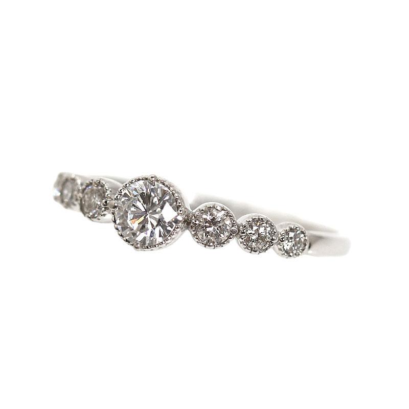 ダイヤモンドリング プラチナ D0.322 D0.21 指輪 ジュエリー アクセサリー【中古】