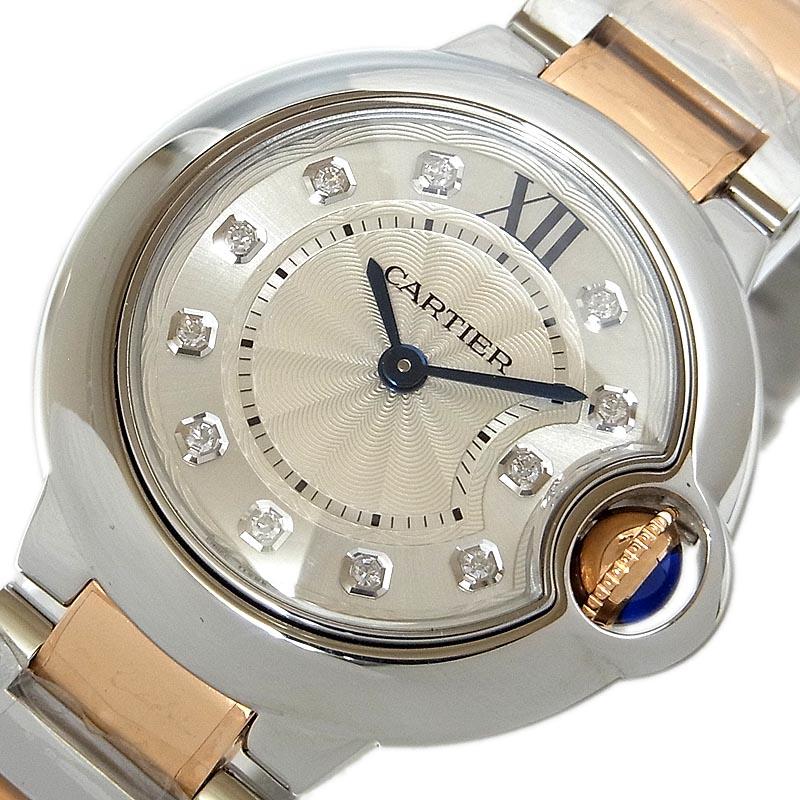 カルティエ 腕時計 レディース 送料無料 Cartier 日本未発売 クオーツ WE902030 アイテム勢ぞろい バロンブルーSM 中古 ダイヤモンド11P
