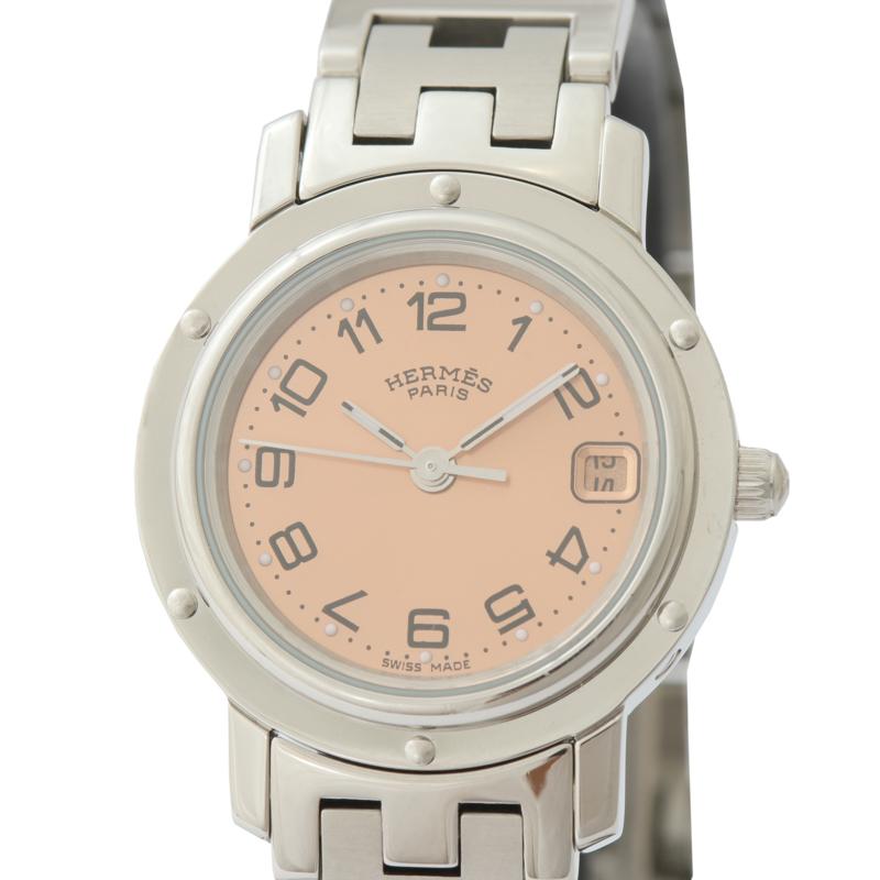 エルメス 腕時計 レディース 送料無料 HERMES ピンク 新品未使用正規品 クリッパー クオーツ 激安挑戦中 CL4.210 中古
