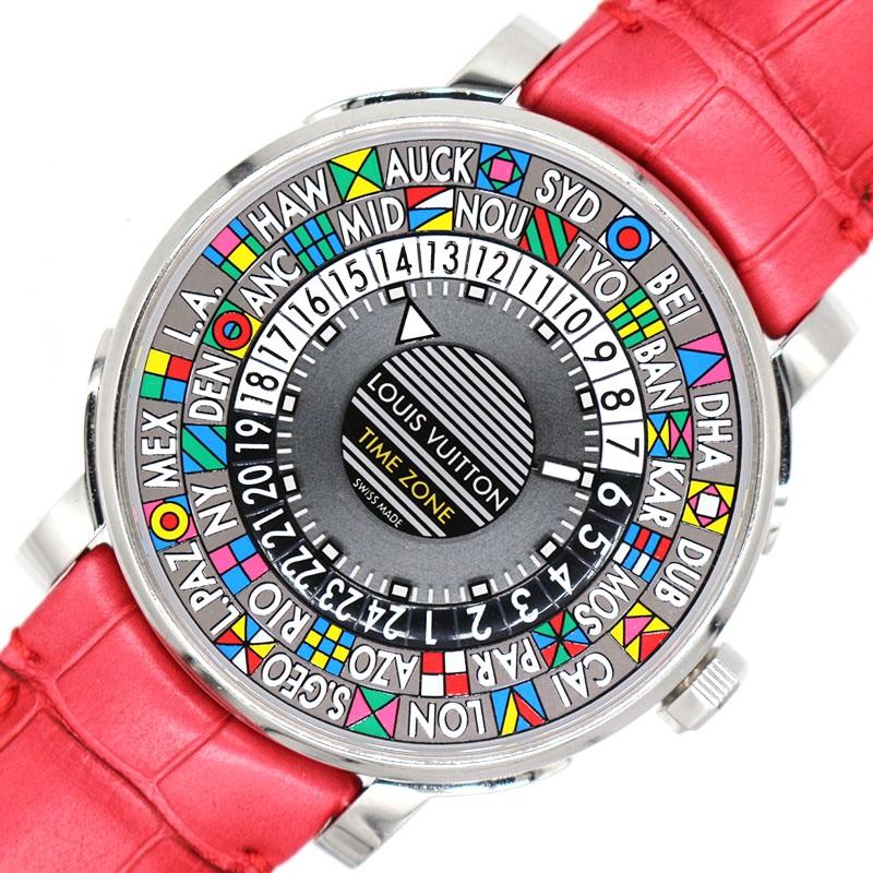 ルイ ヴィトン 腕時計 メンズ 送料無料 LOUIS 春の新作シューズ満載 VUITTON 自動巻き オートマティック Q5D20 グレー 実物 中古 タイムゾーン エスカル