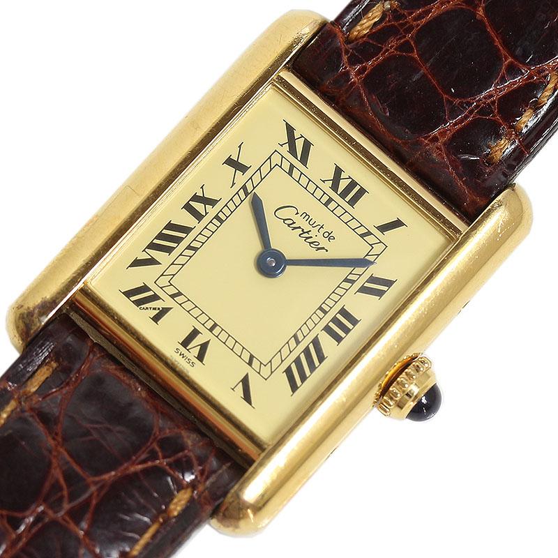 超目玉 カルティエ ◆セール特価品◆ 腕時計 レディース 送料無料 Cartier マストタンク ヴェルメイユ 中古 クォーツ