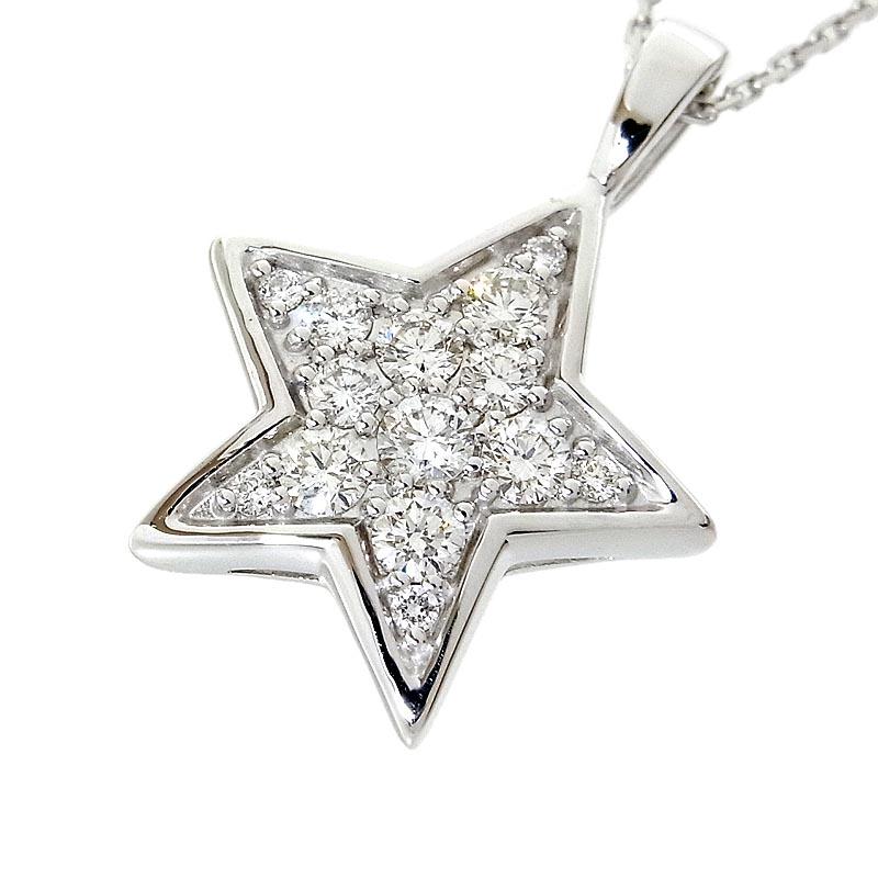 ネックレス レディース 送料無料 スター 中古 ジュエリー K18WG ダイヤモンド 日本全国 ギフ_包装