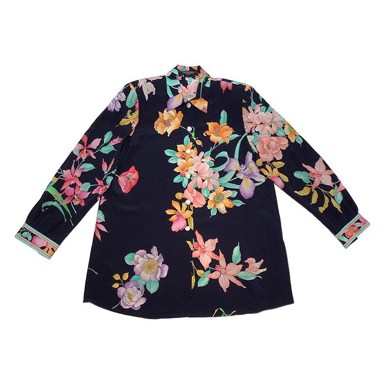 長袖シャツ レディース 送料無料 日本未発売 LEONARD 売り込み ネイビー 中古 マルチ フローラルロングシャツ