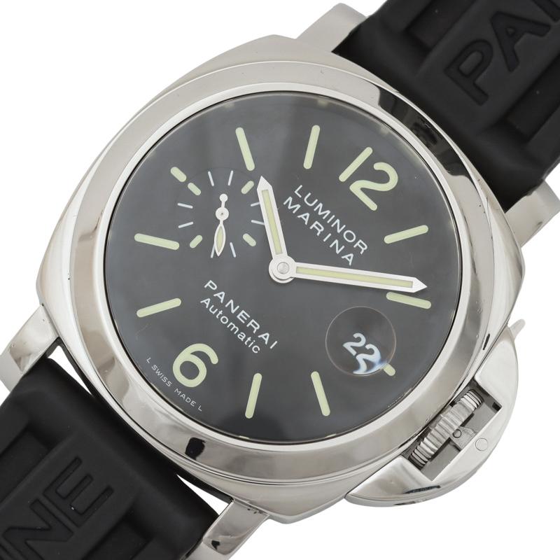 パネライ 腕時計 メンズ 送料無料 数量は多 PANERAI 自動巻き PAM00104 ブラック ルミノールマリーナ 通信販売 中古