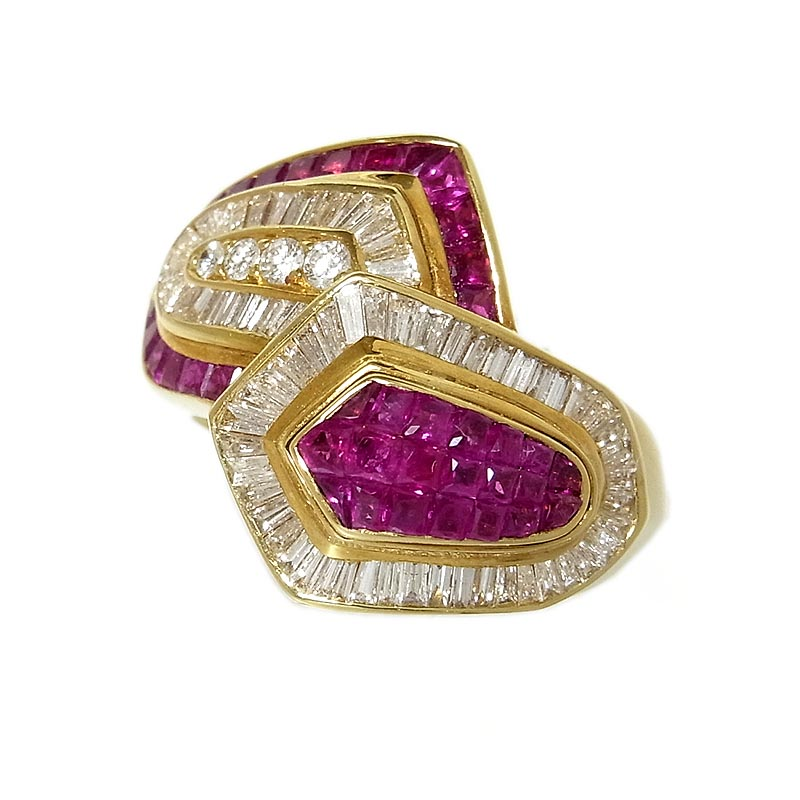 リング 指輪 レディース 送料無料 ルビー ファッションリング ジュエリー K18YG 中古 今だけスーパーセール限定 ダイヤ 直営限定アウトレット
