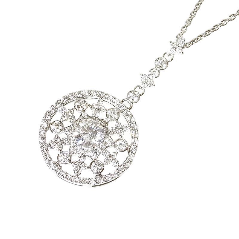 ネックレス 保障 レディース 送料無料 ダイヤモンドペンダント PT900 850 低廉 ダイヤモンド 中古 ジュエリー