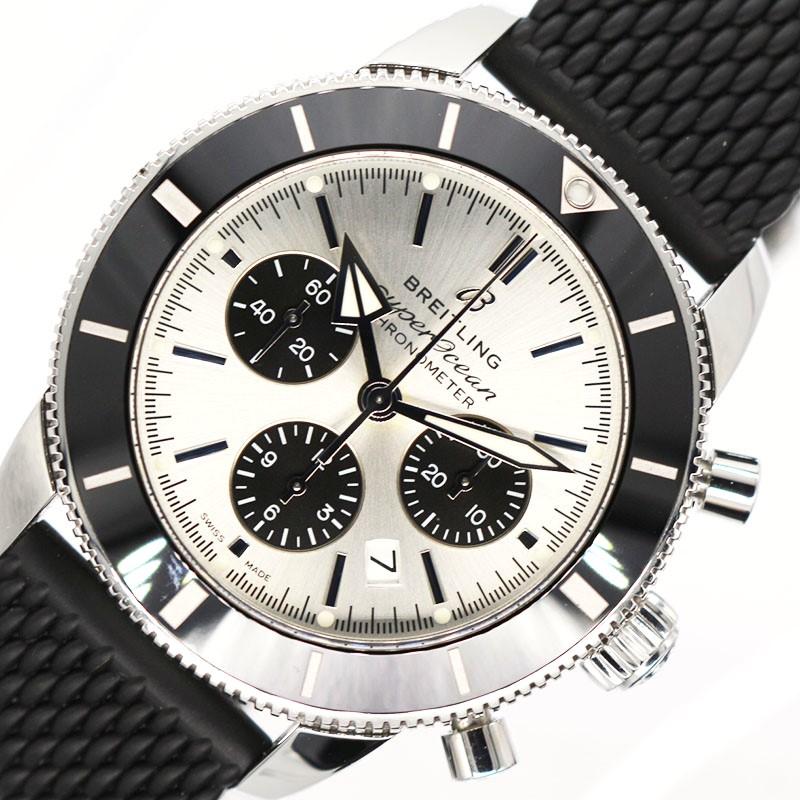 爆買いセール ブライトリング 腕時計 メンズ 送料無料 BREITLING スーパーオーシャンヘリテージB01クロノグラフ44 中古 AB0162 シルバー 自動巻き 格安店