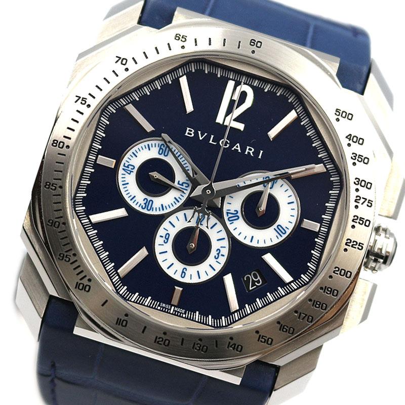 ブルガリ 腕時計 メンズ 送料無料 BVLGARI 格安SALEスタート ブルー 自動巻き BGO41SCH 贈物 オクト 中古