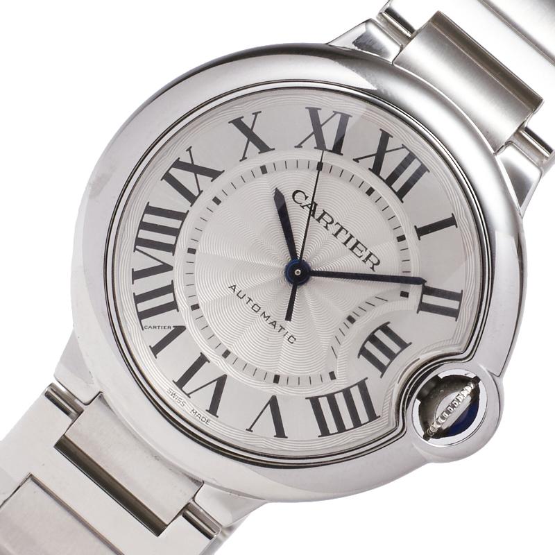 カルティエ 腕時計 ユニセックス 送料無料 Cartier バロンブルー ドゥ 送料無料限定セール中 自動巻き シルバー文字盤 MM ボーイズ W6920046 春の新作 中古 36mm