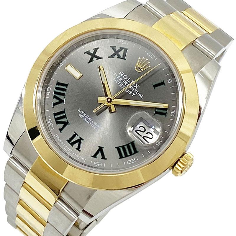 ロレックス 爆買い新作 腕時計 メンズ 送料無料 ROLEX デイトジャスト41 グレー文字盤 126303 ランダムシリアル グリーンストレートローマ 自動巻き