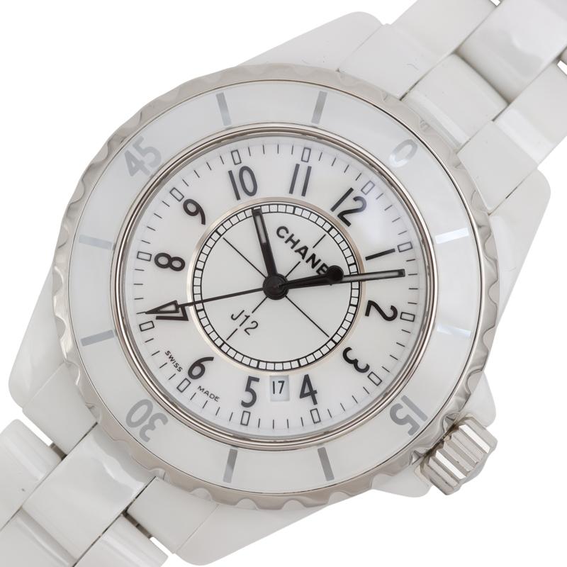シャネル 日本産 在庫あり 腕時計 レディース 送料無料 CHANEL クオーツ 中古 J12 ホワイト H0968
