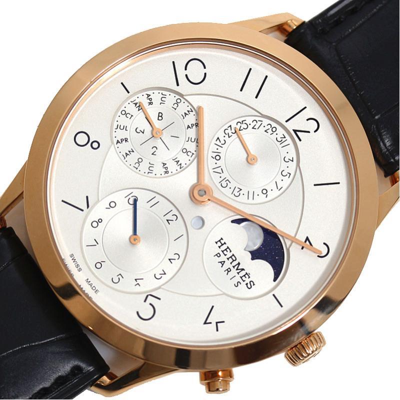 エルメス HERMES スリム ドゥ エルメス パーペチュアルカレンダー CA3.870 自動巻き PG無垢 ムーンフェイズ メンズ 腕時計【中古】