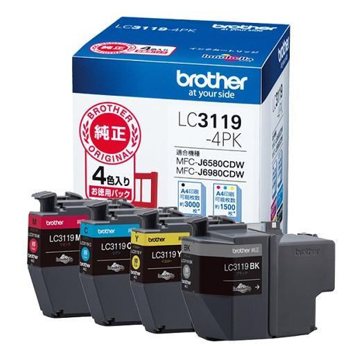 ブラザー販売[LC3119-4PK]インクカートリッジ LC3119-4PK[PC関連用品][トナー・インクカートリッジ][インクジェットカートリッジ]