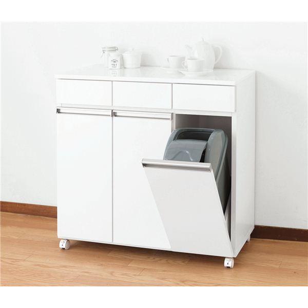 ダストボックス/蓋付きゴミ箱 【3分別】 幅82cm キャスター付き ホワイト(白) 【完成品】