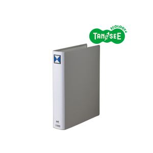 (まとめ)TANOSEE 両開きパイプ式ファイル A4タテ 40mmとじ グレー 30冊