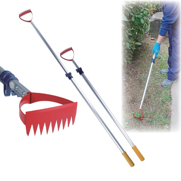 伸縮式草取り道具/雑草抜きごそっと「とれ太」ビッグ 【のこ目/平刃付】 アルミパイプ