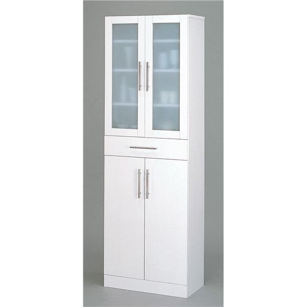 ガラス扉食器棚/キッチン収納 【幅60cm×高さ180cm】 ミストガラス使用 『カトレア』 大容量 【組立】