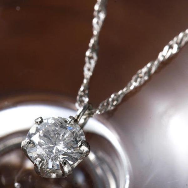 PT900 0.2ct一粒ダイヤモンドペンダント/ネックレス(プラチナ)42cm 鑑別カード付き
