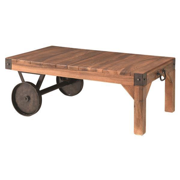 天然木を使用したおしゃれなデザインテーブル(机) サイドテーブル(トロリー型テーブルS) 木製/アイアン TTF-117