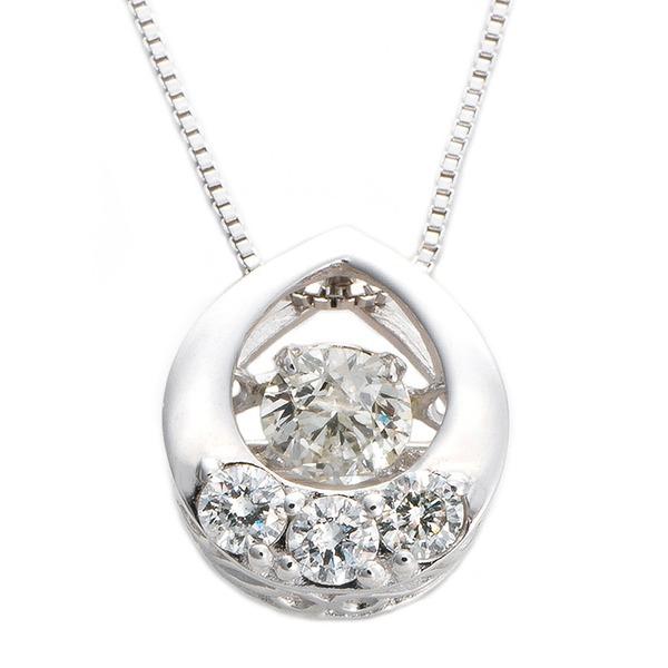 ダイヤモンド ネックレス K18 ホワイトゴールド 0.2ct ダンシングストーン ダイヤモンドスウィングネックレス 雫モチーフ 揺れる ダイヤ ペンダント 鑑別カード付き