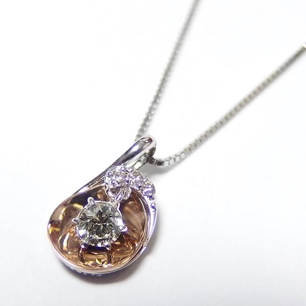 ダイヤモンド ネックレス 0.11ct K18 ピンクゴールド&ホワイトゴールド ハート&キューピット H&C Hカラー SIクラス GOOD 揺れる ダイヤモンド ペンダント 鑑別書付き